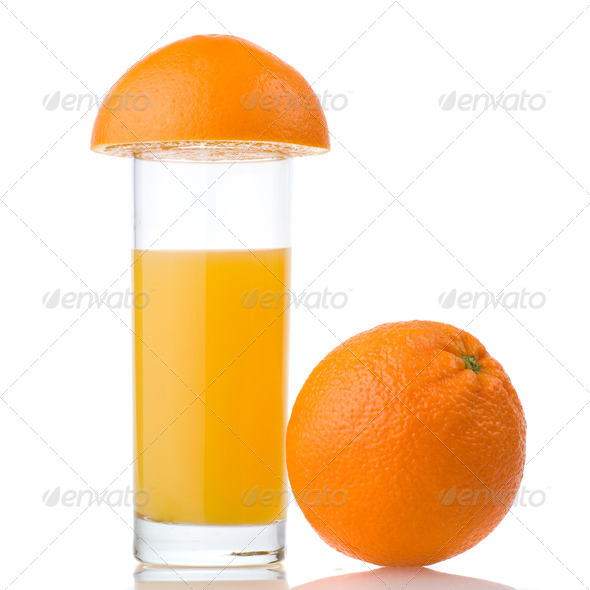 orange juice and orange isolated on white - Stock Photo - Images