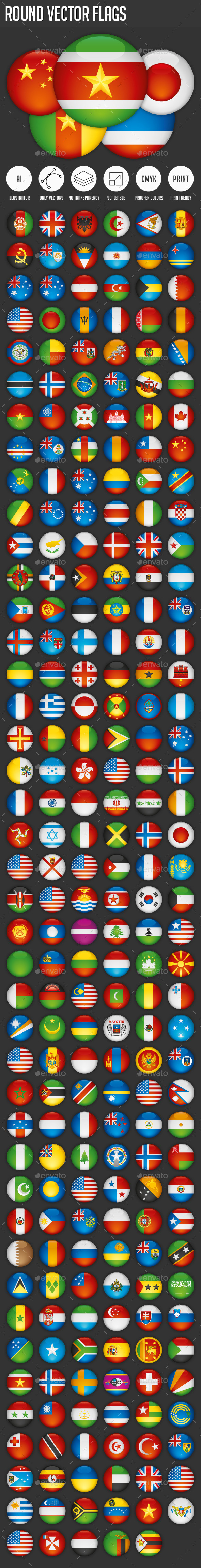Round Vector Flags - Web Elements Vectors
