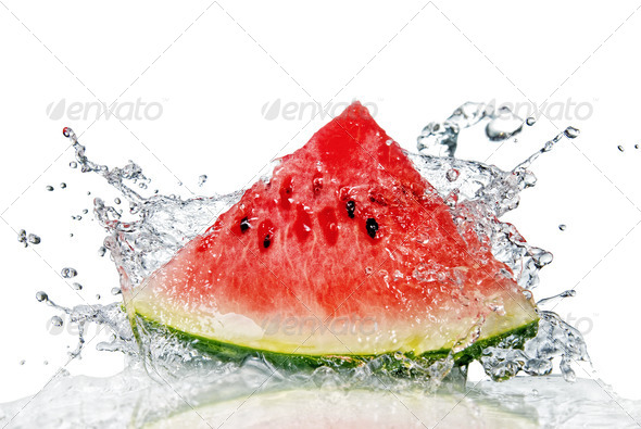watermelon and water splash isolated on white - Stock Photo - Images