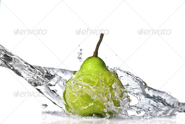 fresh water splash on green pear isolated on white - Stock Photo - Images
