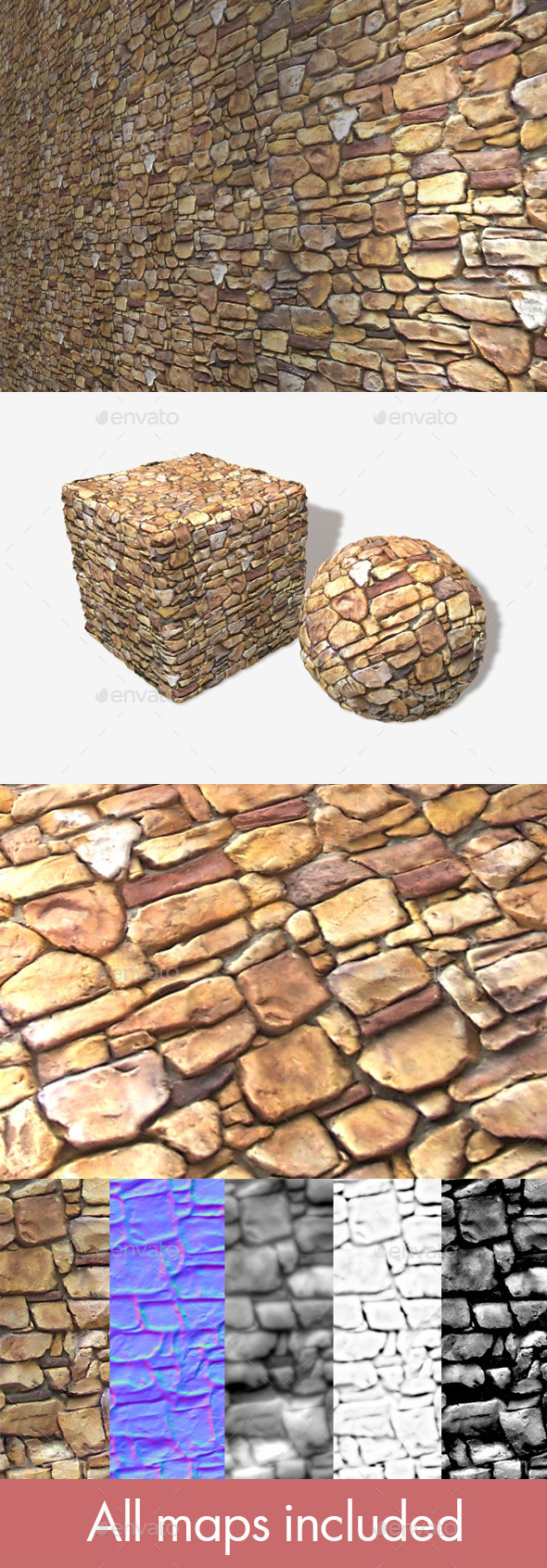 Sandstone Rock Wall Seamless Texture - 3DOcean Item for Sale