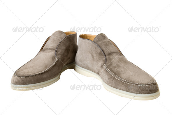 light brown male leather shoes isolated on white - Stock Photo - Images