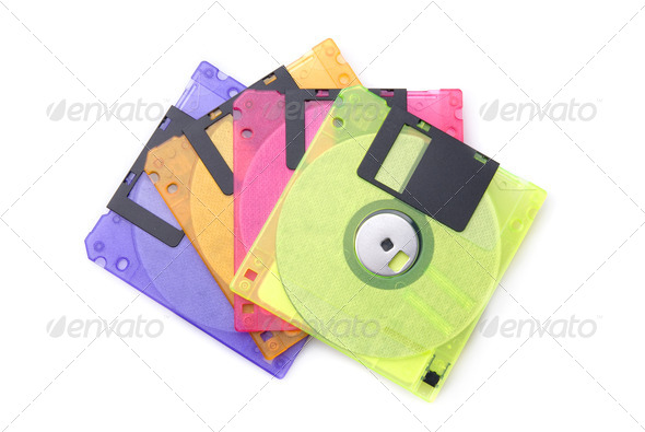Color floppy disks isolated on white - Stock Photo - Images