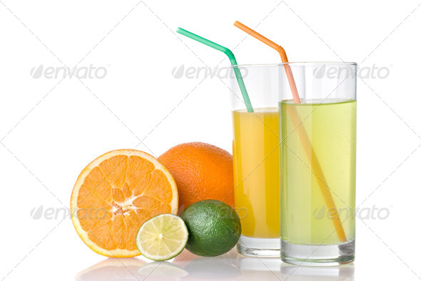 orange and lime juices with orange and lime isolated on white - Stock Photo - Images