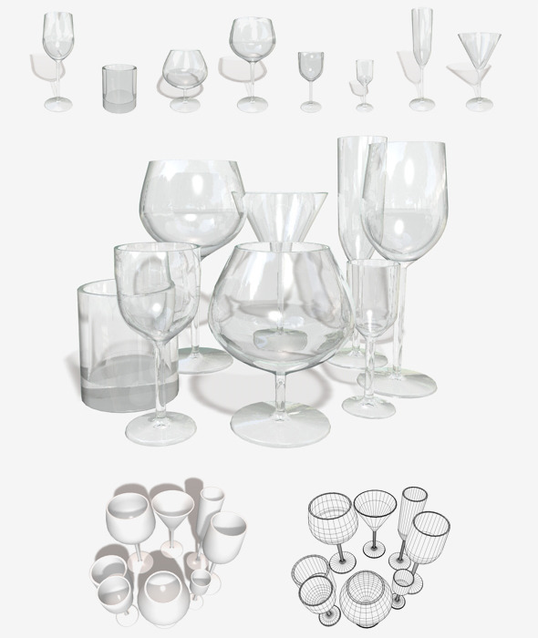 Glassware 8 Types - 3DOcean Item for Sale