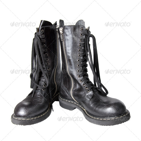 black leather boots isolated on white - Stock Photo - Images