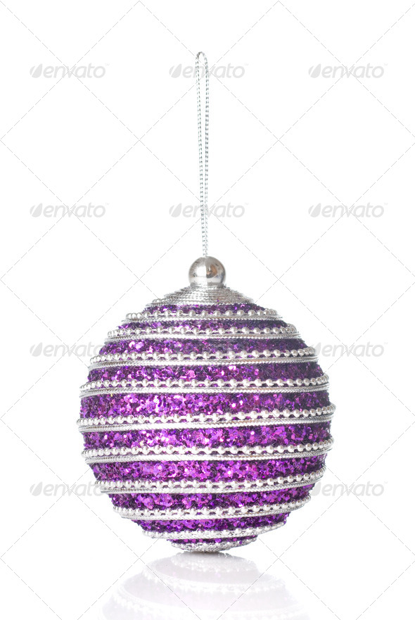 pink christmas ball isolated on white - Stock Photo - Images