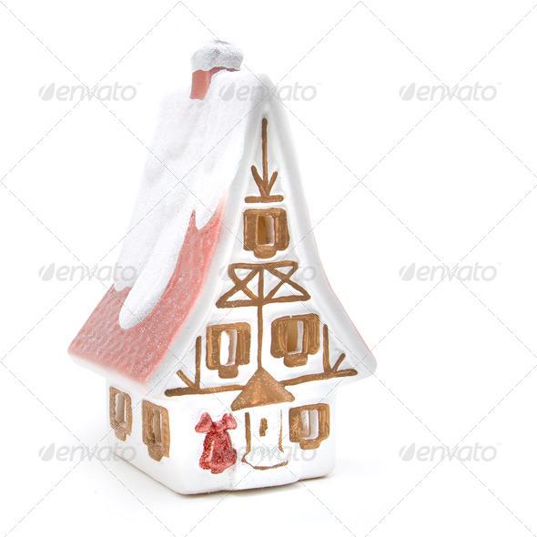 christmas house isolated on white - Stock Photo - Images