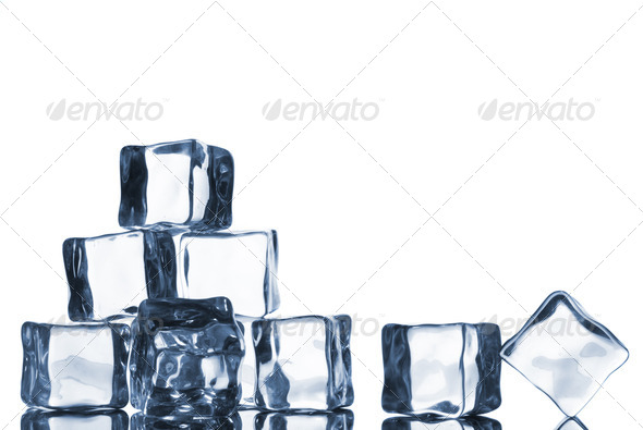 ice cubes with water drops isolated on white - Stock Photo - Images