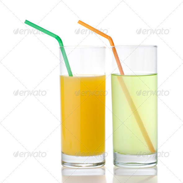 lime and orange juice isolated on white - Stock Photo - Images
