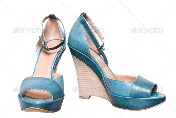 blue leather female shoes isolated on white - Stock Photo - Images