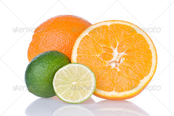 orange and lime isolated on white - Stock Photo - Images
