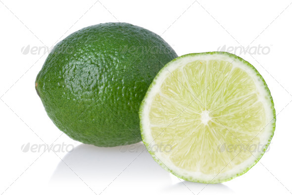 Green lime isolated on white - Stock Photo - Images