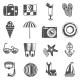 Summer Vacation Icons Set Black
