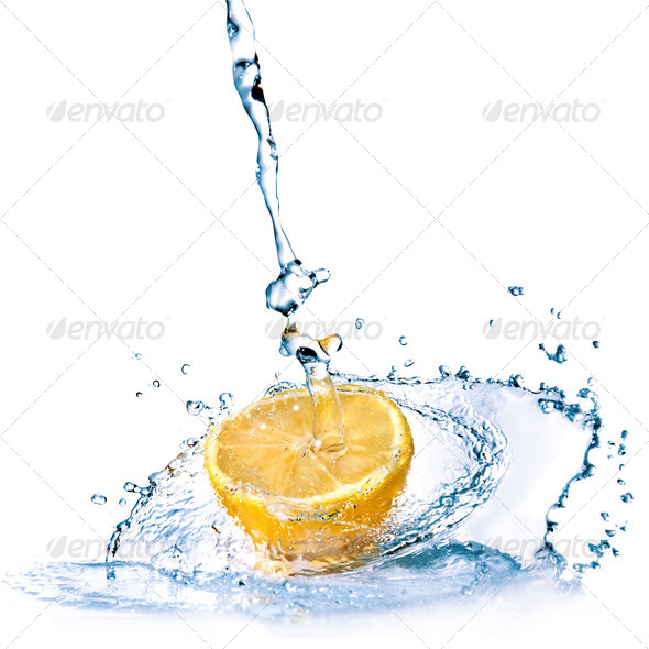 fresh water drops on lemon isolated on white - Stock Photo - Images