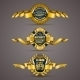 Golden Badges with Laurel Wreath - GraphicRiver Item for Sale