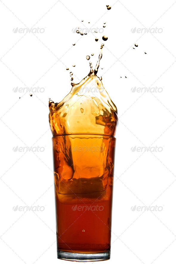 splash of cola isolated on white - Stock Photo - Images