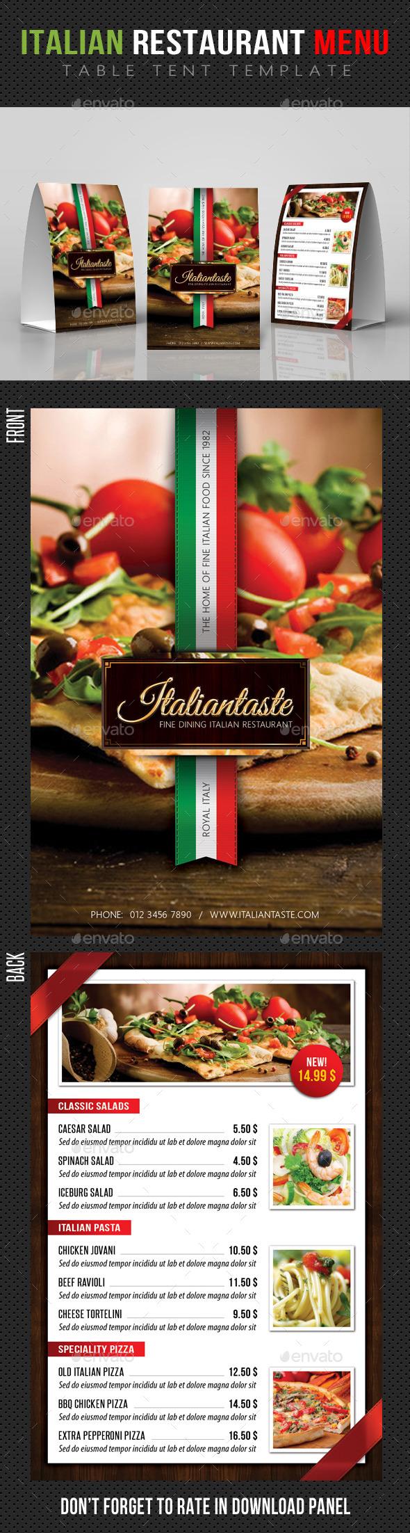 Italian Restaurant Table Tent Template