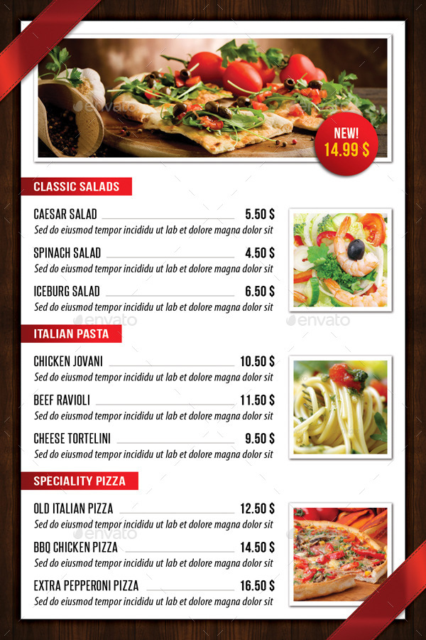 Italian restaurant table tent template by rapidgraf for Table table restaurant menu