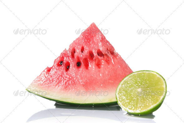 watermelon and lime isolated on white - Stock Photo - Images