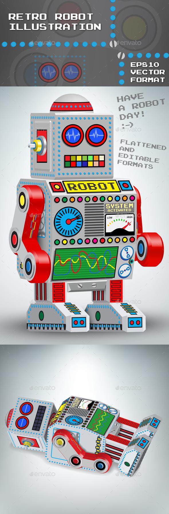 Retro robot toy 3d illustration - Retro Technology