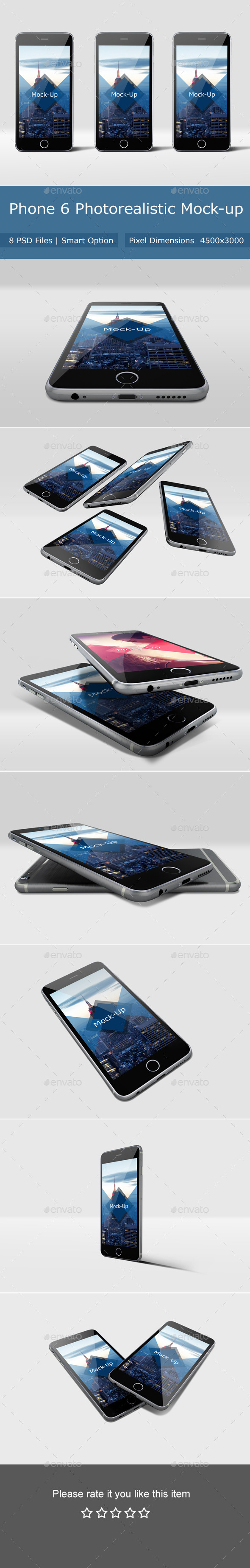 Phone 6 Photorealistic Mockup - Mobile Displays