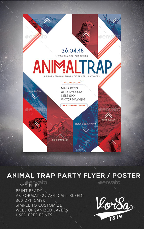 Animal Trap Party Flyer/Poster   Clubs U0026 Parties Events