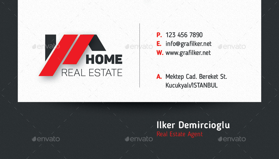 Real Estate Business Card Templates By Grafilker GraphicRiver - Real estate business card templates