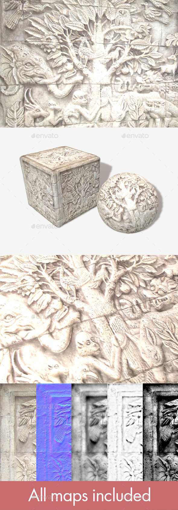 Asian Carved Stone Texture 2 - 3DOcean Item for Sale