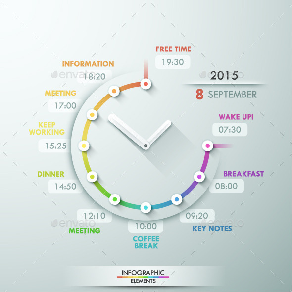 Infographic Timeline Template With Clock By AndrewKras GraphicRiver - Timeline infographic template