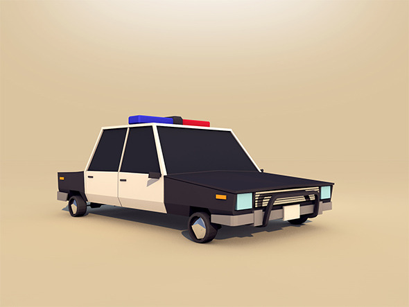Cartoon Low Poly Police Car - 3DOcean Item for Sale