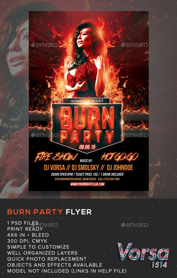 burn party flyer template by vorsa graphicriver