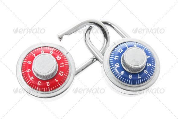 Combination Locks on White Background - Stock Photo - Images