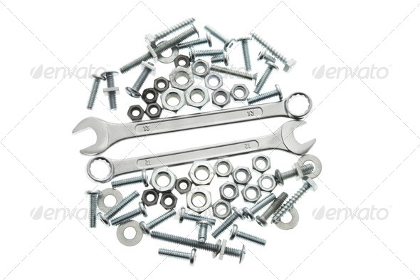 Spanners; Nuts and Bolts - Stock Photo - Images