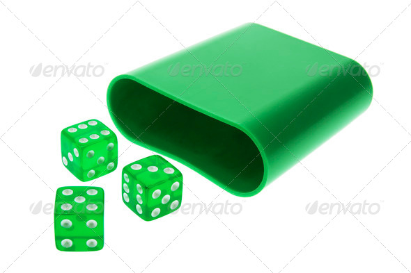 Green Translucent Dice - Stock Photo - Images