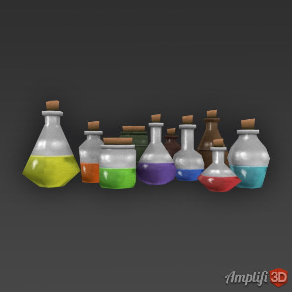Low Poly Cartoon Potion Bottles - 3DOcean Item for Sale