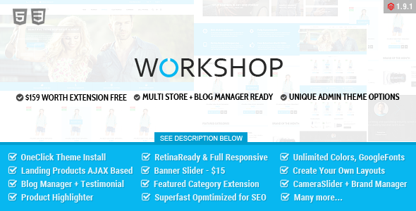 Workshop Responsive & Retina Ready Magento Theme  - Magento eCommerce