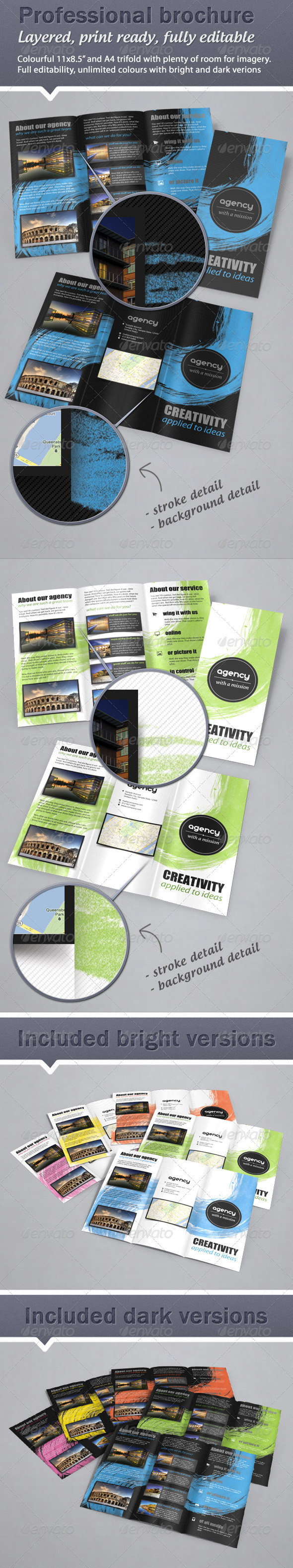 Colorful, Fresh Trifold Brochure - 11x8.5 & A4  - Corporate Brochures