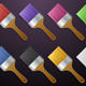 Multi Coloured Paint Brush PNG Icons - GraphicRiver Item for Sale