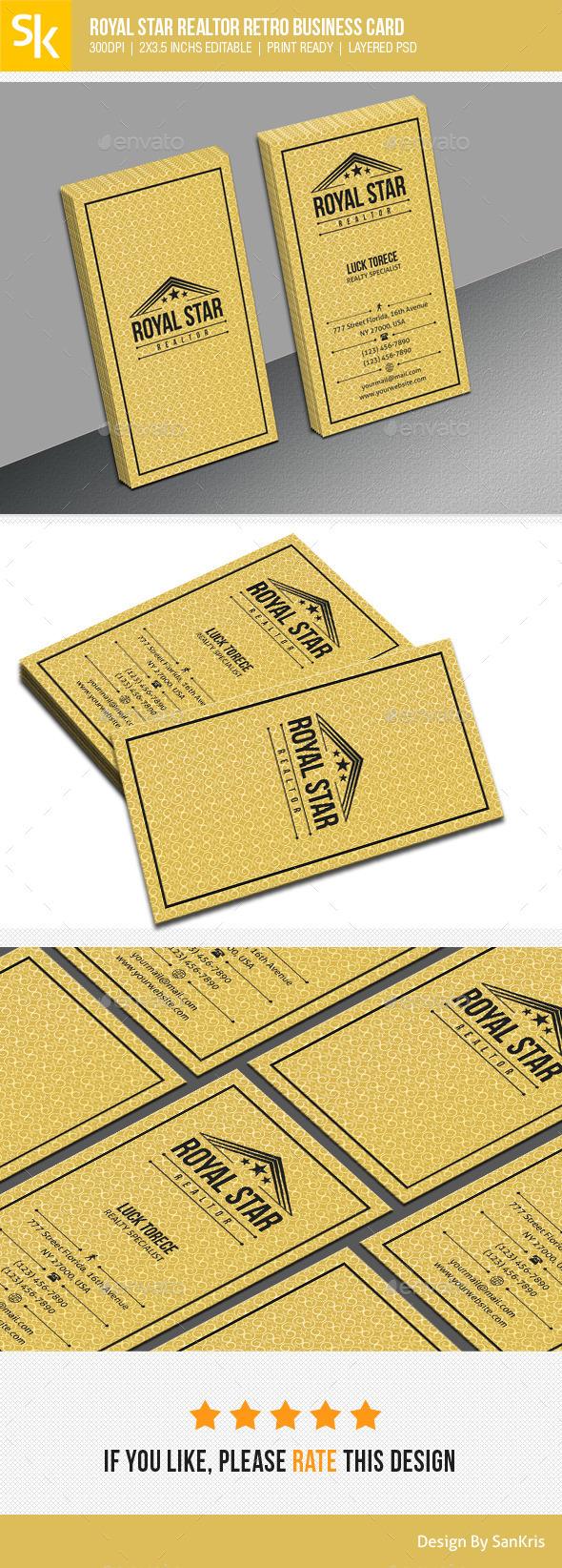 Royal Star Realtor Retro Business Card - Retro/Vintage Business Cards