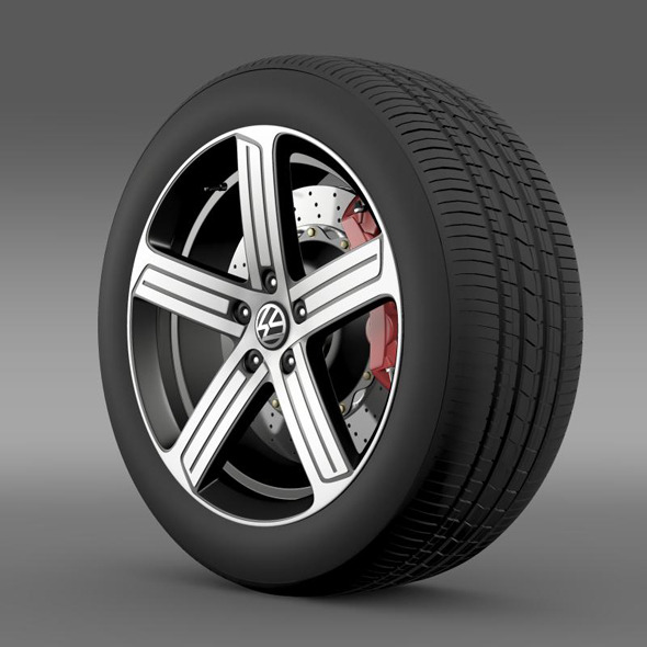 Volkswagen Golf R wheel - 3DOcean Item for Sale