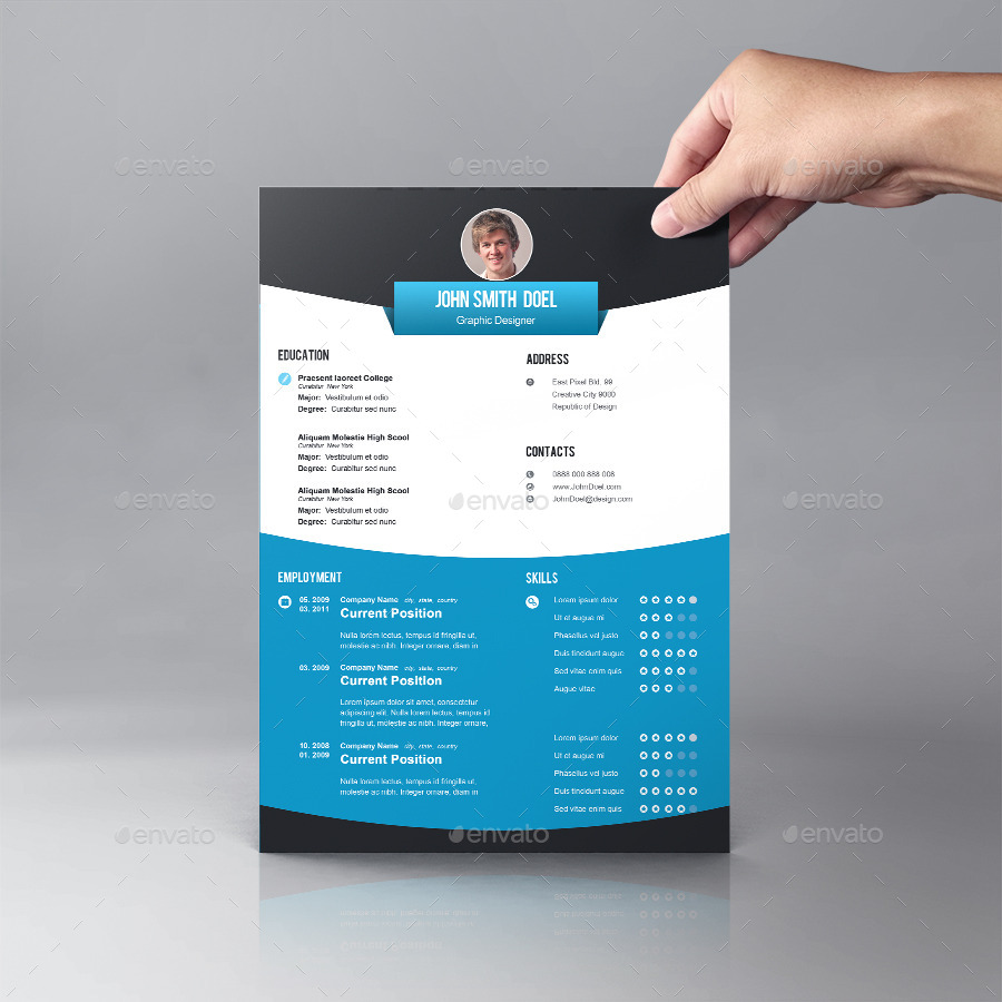 Nice Resume Template Design By Graphicsdesignator  Graphicriver