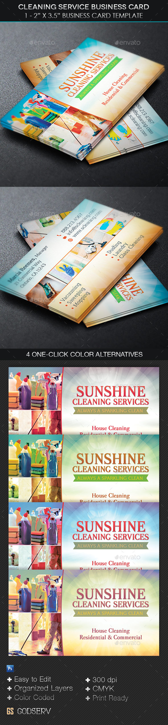 Cleaning Service Business Card Template by Godserv | GraphicRiver