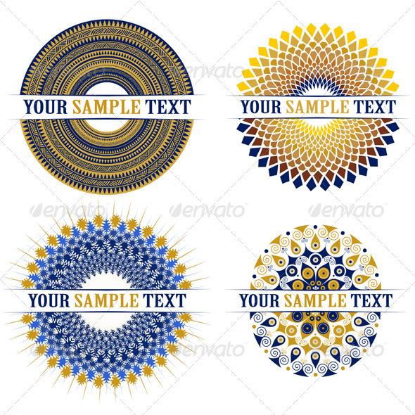 Set of Decorative Round Elements - Flourishes / Swirls Decorative