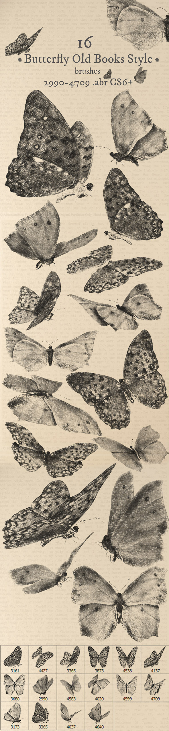 Butterfly Old Book Style Brushes