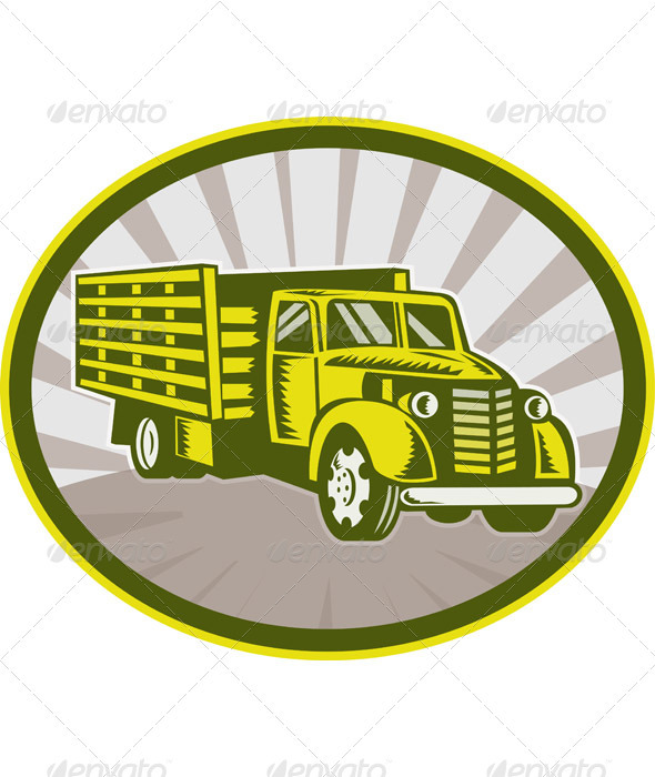 Vintage Pick Up Truck Retro Woodcut Style - Objects Vectors