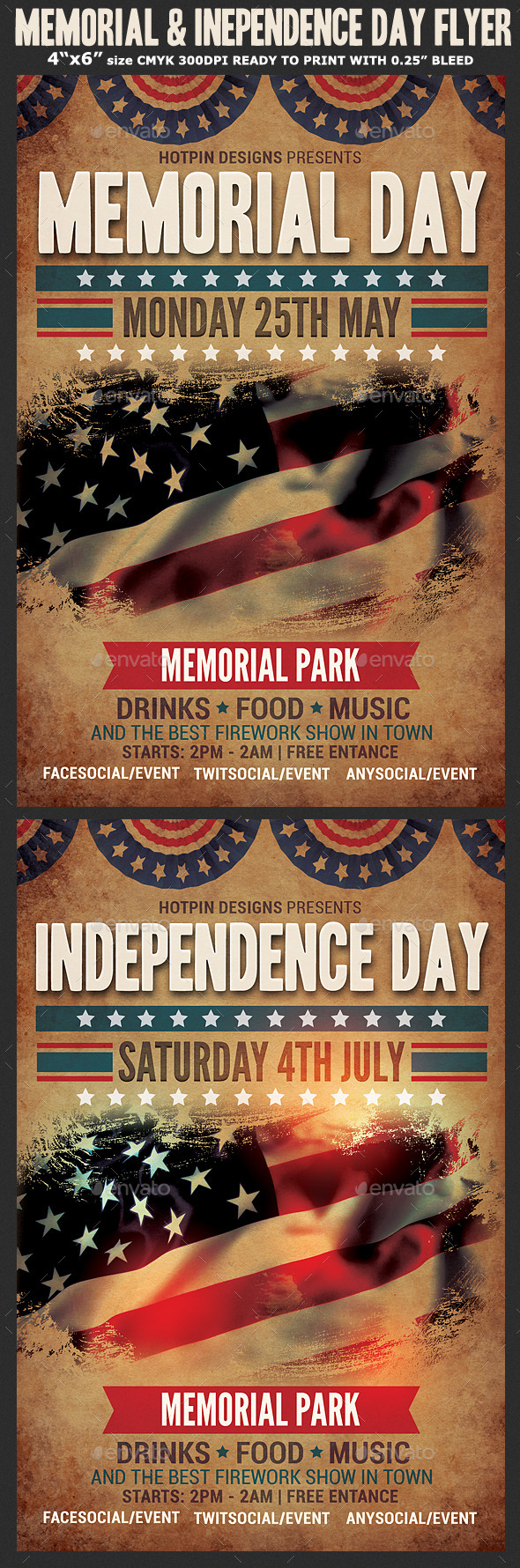 Memorial & Independence Day Flyer Template - Events Flyers