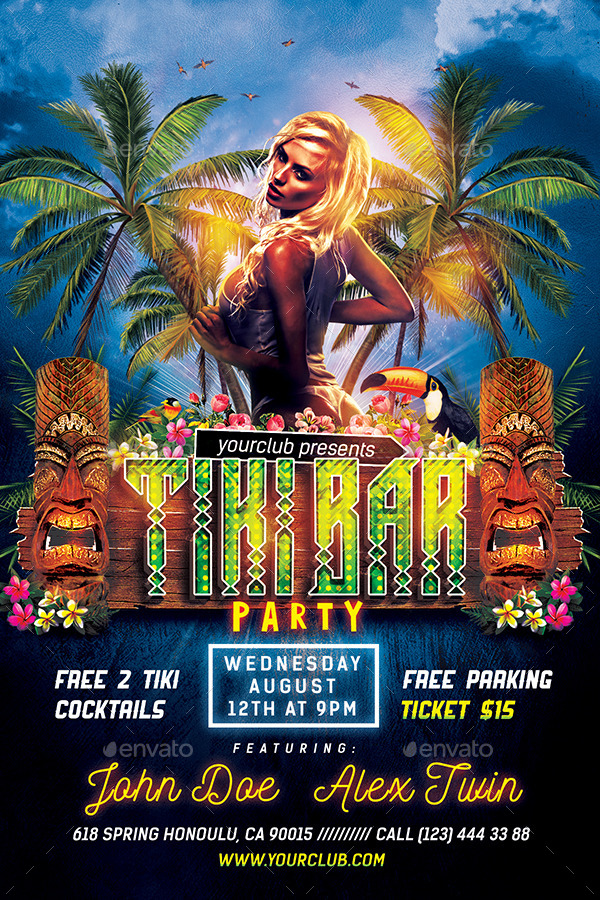 hawaiian party flyers by vorsa graphicriver