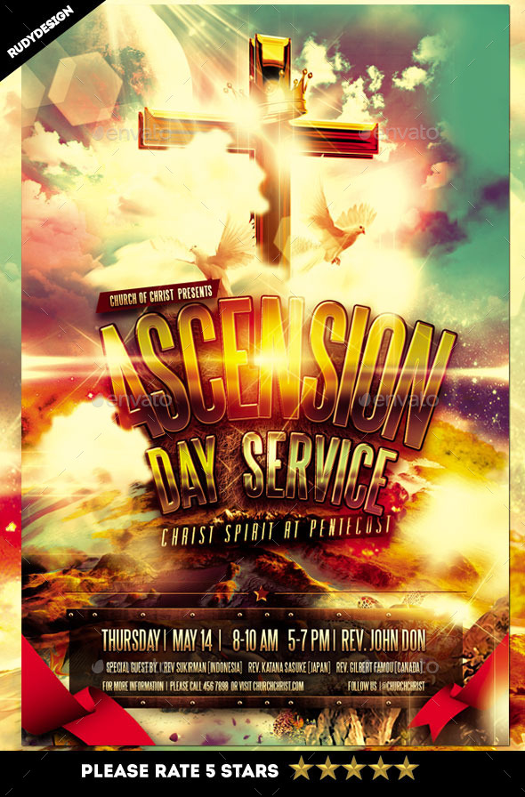 ascension day service church flyer design church flyers