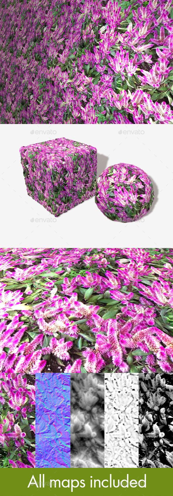 Tropical Pink Flowers Seamless Texture - 3DOcean Item for Sale